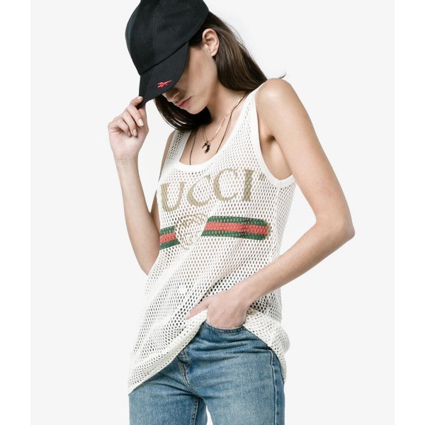 Gucci Classic GG Vintage Logo Mesh White Tank Top XS Lust4Labels