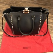Valentino Garavani Black Calf Leather Small Trapeze Rockstud Tote Bag Lust4Labels 5