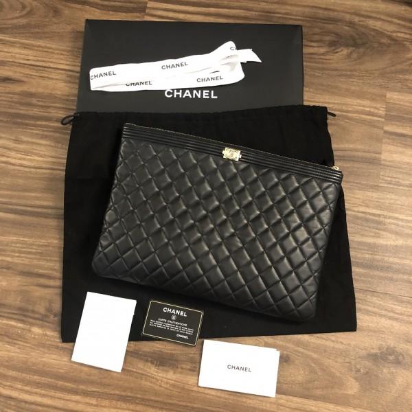 Chanel Classic Black Lamb Leather Le Boy Large O Case Clutch Lust4Labels 1