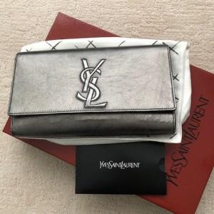 Yves Saint Laurent Gunmetal Metallic Grey Leather Belle Du Jour Logo Clutch Bag Lust4Labels 1