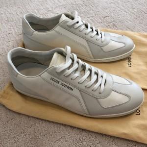Louis Vuitton White Leather Sneaker Trainer Shoes SZ 7.5 US 9.5 Lust4Labels 1
