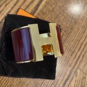 Hermes Burgundy Red Gold Enamel Extra Wide Cuff H Bracelet Lust4Labels 1