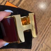 Hermes Burgundy Red Gold Enamel Extra Wide Cuff H Bracelet Lust4Labels 2