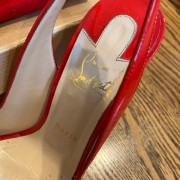 Louboutin Red Coral Patent Flo 120mm Sling Pumps SZ 37 Lust4Labels 2