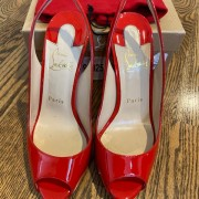 Louboutin Red Coral Patent Flo 120mm Sling Pumps SZ 37 Lust4Labels 3