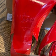Louboutin Red Coral Patent Flo 120mm Sling Pumps SZ 37 Lust4Labels 5