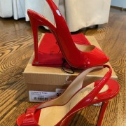 Louboutin Red Coral Patent Flo 120mm Sling Pumps SZ 37 Lust4Labels 6