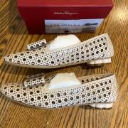 Salvatore Ferragamo Sarno Laser Cut Bone Calf Leather Flat Shoes SZ 6C Lust4Labels 1