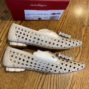 Salvatore Ferragamo Sarno Laser Cut Bone Calf Leather Flat Shoes SZ 6C Lust4Labels 2