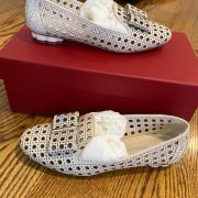 Salvatore Ferragamo Sarno Laser Cut Bone Calf Leather Flat Shoes SZ 6C Lust4Labels 3