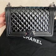 Chanel Classic Black Quilted Patent Leather New Medium Le Boy Shiny SHW Lust4Labels 1