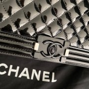 Chanel Classic Black Quilted Patent Leather New Medium Le Boy Shiny SHW Lust4Labels 3