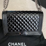 Chanel Classic Black Quilted Patent Leather New Medium Le Boy Shiny SHW Lust4Labels 9
