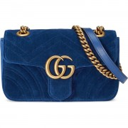 Gucci GG Marmont Matelasse Velvet Blue Bag Purse GHW Lust4Labels 1