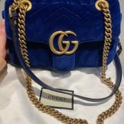 Gucci GG Marmont Matelasse Velvet Blue Bag Purse GHW Lust4Labels 2