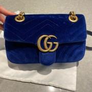 Gucci GG Marmont Matelasse Velvet Blue Bag Purse GHW Lust4Labels 7