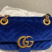 Gucci GG Marmont Matelasse Velvet Blue Bag Purse GHW Lust4Labels 8