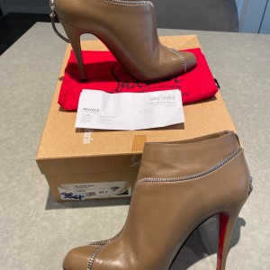 Louboutin Taupe Leather Zip Detail Ankle Boots SZ 36.5 Lust4Labels 9