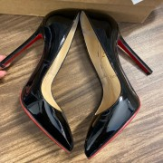 Christian Louboutin Classic Black Patent Leather Pigalle 120 Pumps SZ 35.5 Lust4Labels
