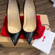 Christian Louboutin Classic Black Patent Leather Pigalle 120 Pumps SZ 35.5 Lust4Labels 1