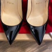 Christian Louboutin Classic Black Patent Leather Pigalle 120 Pumps SZ 35.5 Lust4Labels 10