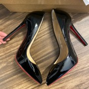 Christian Louboutin Classic Black Patent Leather Pigalle 120 Pumps SZ 35.5 Lust4Labels 11