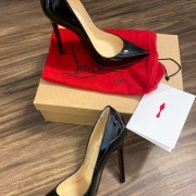 Christian Louboutin Classic Black Patent Leather Pigalle 120 Pumps SZ 35.5 Lust4Labels 3