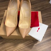 Christian Louboutin Classic Nude Patent Leather Pigalle 120 Pumps SZ 35.5 Lust4Labels 1