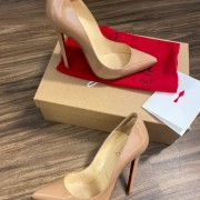 Christian Louboutin Classic Nude Patent Leather Pigalle 120 Pumps SZ 35.5 Lust4Labels 10
