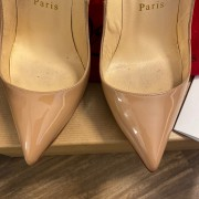 Christian Louboutin Classic Nude Patent Leather Pigalle 120 Pumps SZ 35.5 Lust4Labels 3