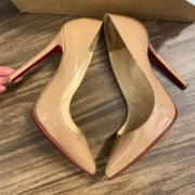 Christian Louboutin Classic Nude Patent Leather Pigalle 120 Pumps SZ 35.5 Lust4Labels 4