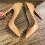 Christian Louboutin Classic Nude Patent Leather Pigalle 120 Pumps SZ 35.5 Lust4Labels 5