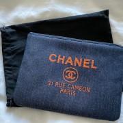 Chanel Classic Deauville Dark Blue Denim Orange Detail Logo Small Zip O Case Clutch Bag Lust4Labels 1