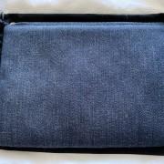 Chanel Classic Deauville Dark Blue Denim Orange Detail Logo Small Zip O Case Clutch Bag Lust4Labels 5