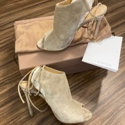 Gianvito Rossi Suede Lace Up Camoscio Peep Ankle Boots Booties SZ 35 Lust4Labels 1