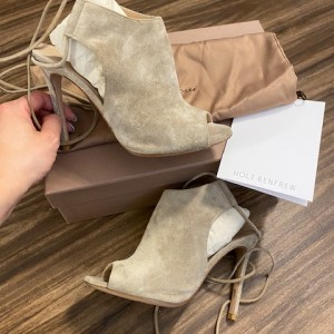 Gianvito Rossi Suede Lace Up Camoscio Peep Ankle Boots Booties SZ 35 Lust4Labels 2