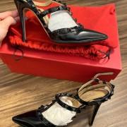 Valentino Noir So Black Patent Leather Rockstud Strap Pumps SZ 35.5 Lust4Labels 11