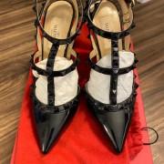 Valentino Noir So Black Patent Leather Rockstud Strap Pumps SZ 35.5 Lust4Labels 2