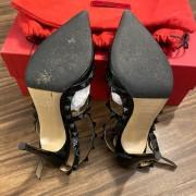 Valentino Noir So Black Patent Leather Rockstud Strap Pumps SZ 35.5 Lust4Labels 9
