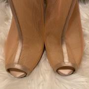 Giambattista Valli Nude Pink Mesh Style Peep Zip Booties SZ 38 Lust4Labels 6